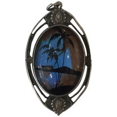 Sterling Pendant with Hand-Painted Landscape on a Butterfly Wing