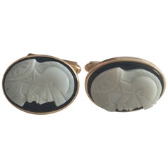 """Hand-Carved Shell """"Knight"""" Cameo Cufflinks in 14k with Bullet Back Clasp"""