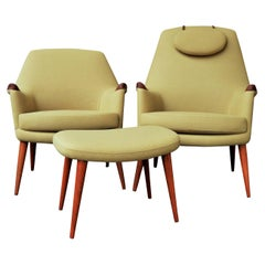 Pair of Ingmar Relling for Westnofa Teak Lounge Chairs, Mama/Papa in Camel Wool