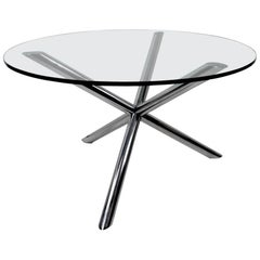 Chrome Jack Base Dining Table with Plate Glass Top