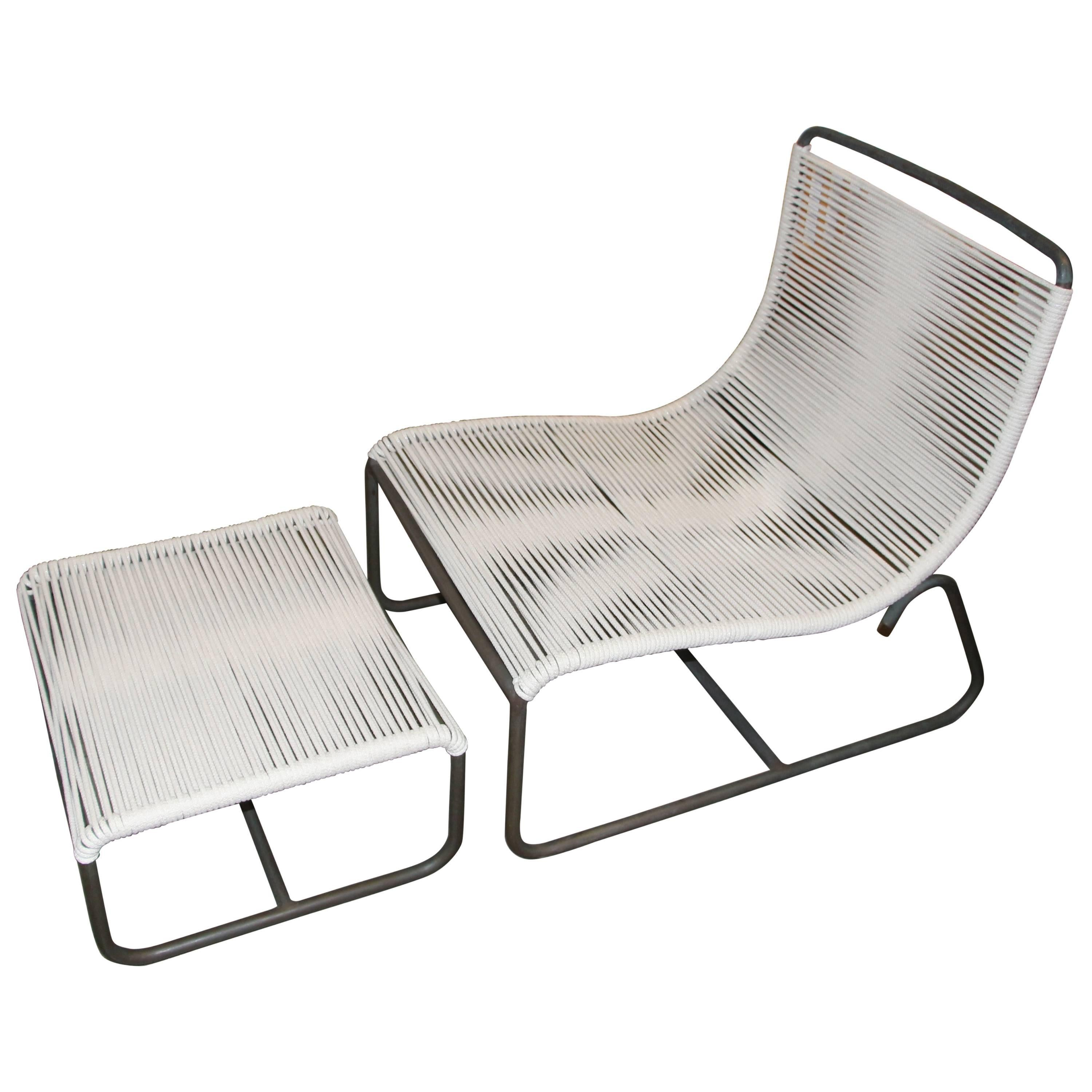 Captivating Walter Lamb For Brown Jordan Sleigh Lounge Chair And Ottoman For Sale