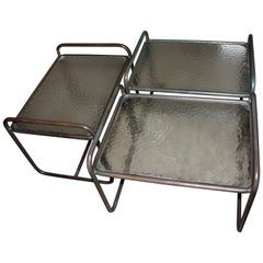 Three Tubular Bronze and Glass Side Table by Walter Lamb for Brown Jordan