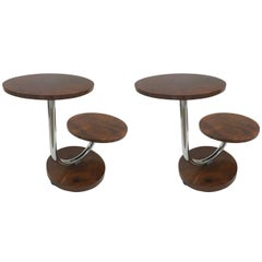 Pair of Donald Deskey Art Deco Walnut and Chrome Side Tables