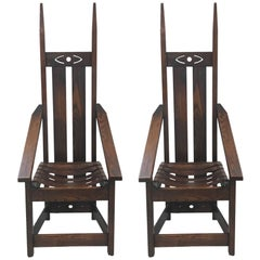 Pair of Oak High Back Mission Chairs in the Style of Charles Rohlfs