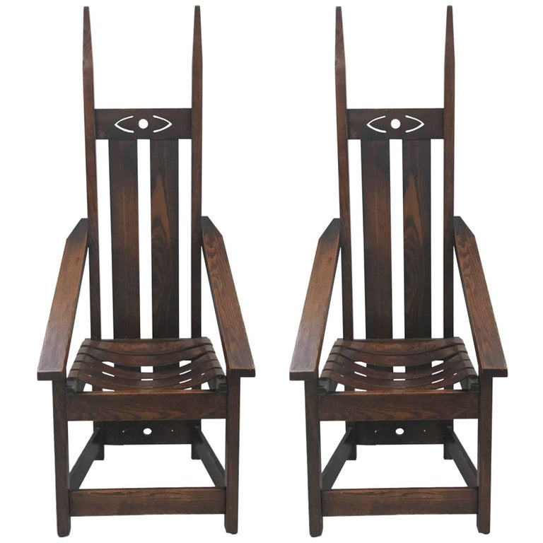 Pair of Oak High Back Mission Chairs in the Style of Charles Rohlfs For Sale