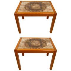Pair of Danish Modern Tile Top Tables