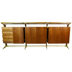 1950s Bronze and Italian Walnut Sideboard Palazzi Dell' Arte Exhibition Piece