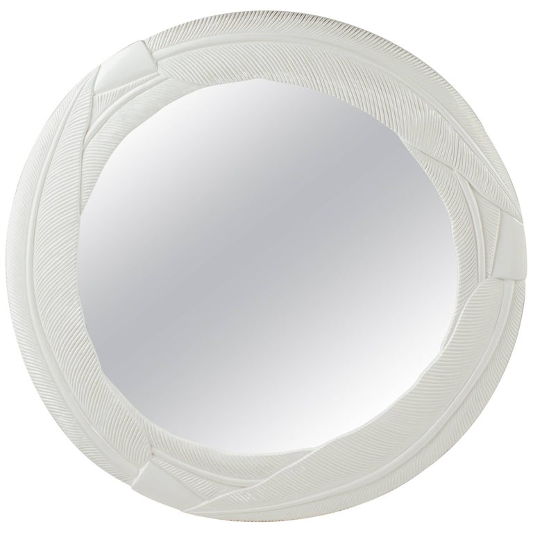 Art Deco Cream Lacquered Mirror with Banana Leaf Design For Sale