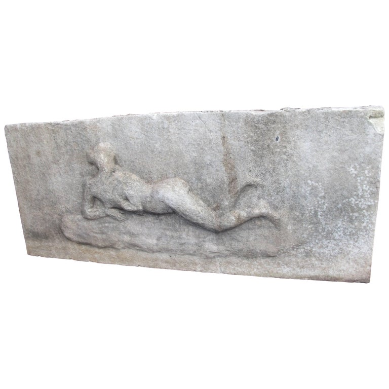 Marble Relief with Reclining Nude For Sale