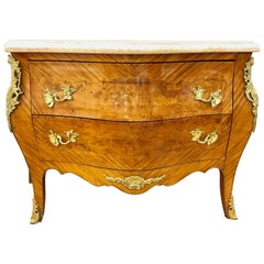 French Louis XV Marble-Top Kingwood Bombe Chest