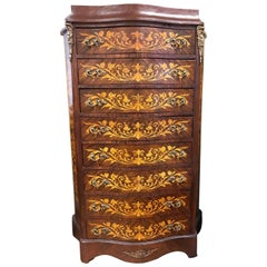 Antique Dutch Marquetry Chest of Drawers Commode Dresser