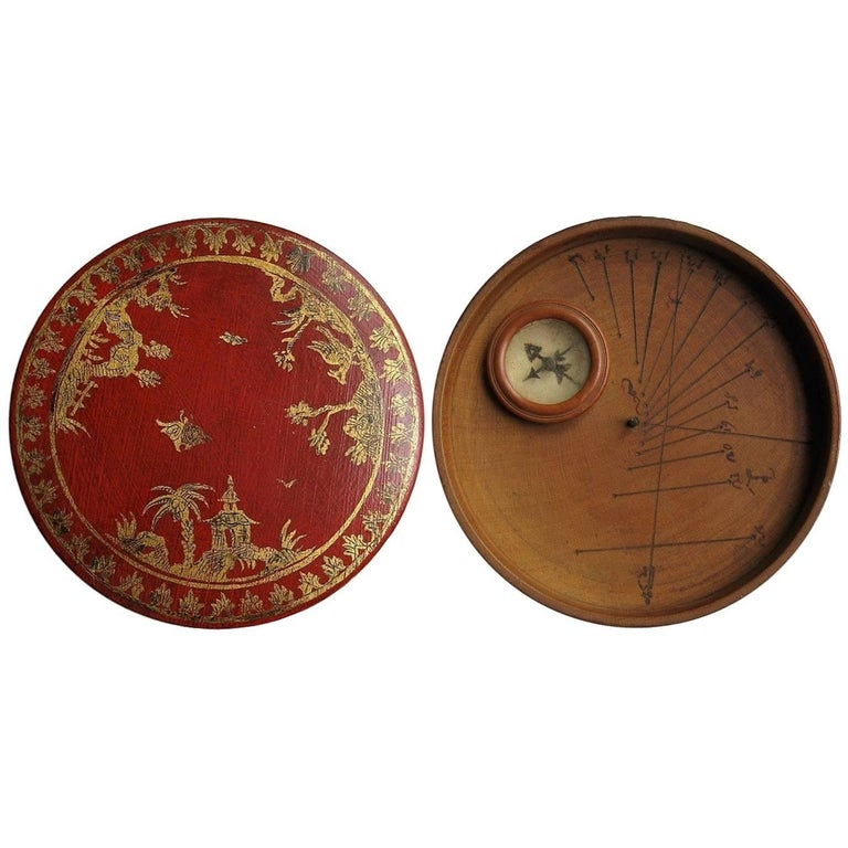 Italian Traveling/Snuff Box in Red and Gilt Lacquer with Sundial, 1730