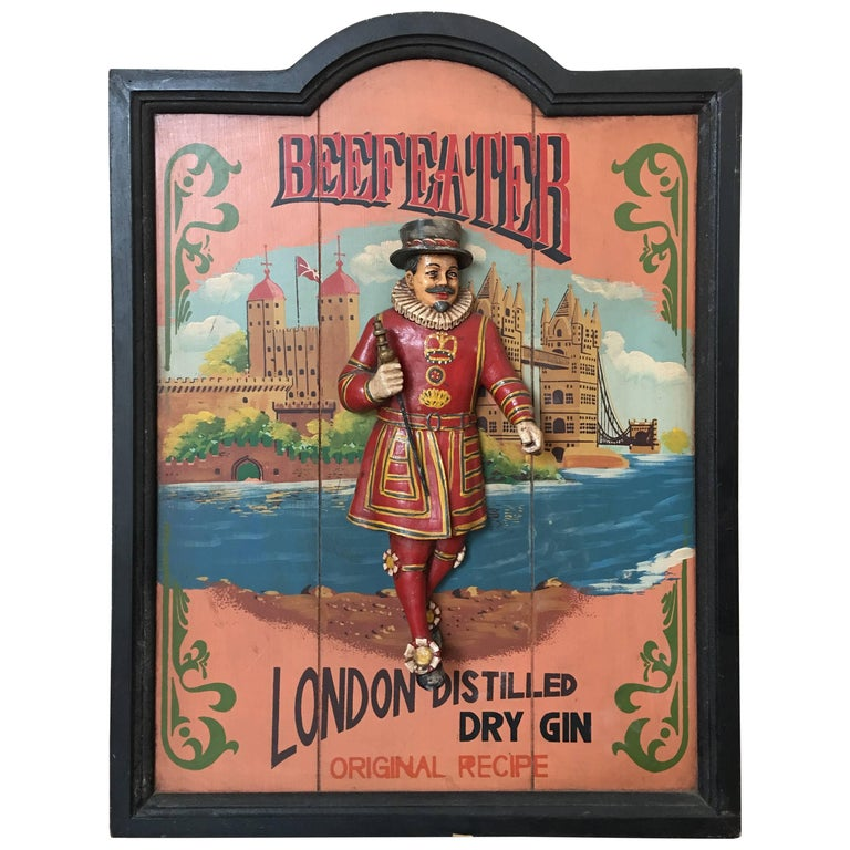 Vintage Advertising Wood Carved Relief Beefeater Advertising