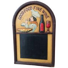 Vintage Oak Hotel Black Board or Menu Board with Relief