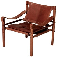 Arne Norell Safari Chair, Brown Leather and Rosewood, Sweden, 1970s