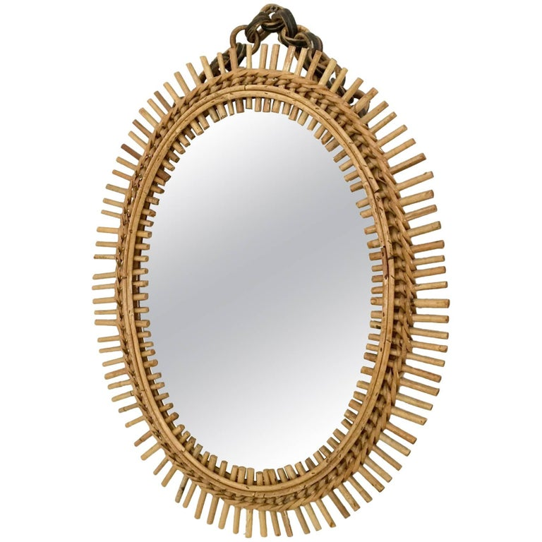 Oval Wall Mirror in the Style of Franco Albini with a Wicker Frame, Italy, 1950s