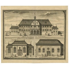 Antique Print of the City Hall of Batavia 'Indonesia' by F. Valentijn circa 1725