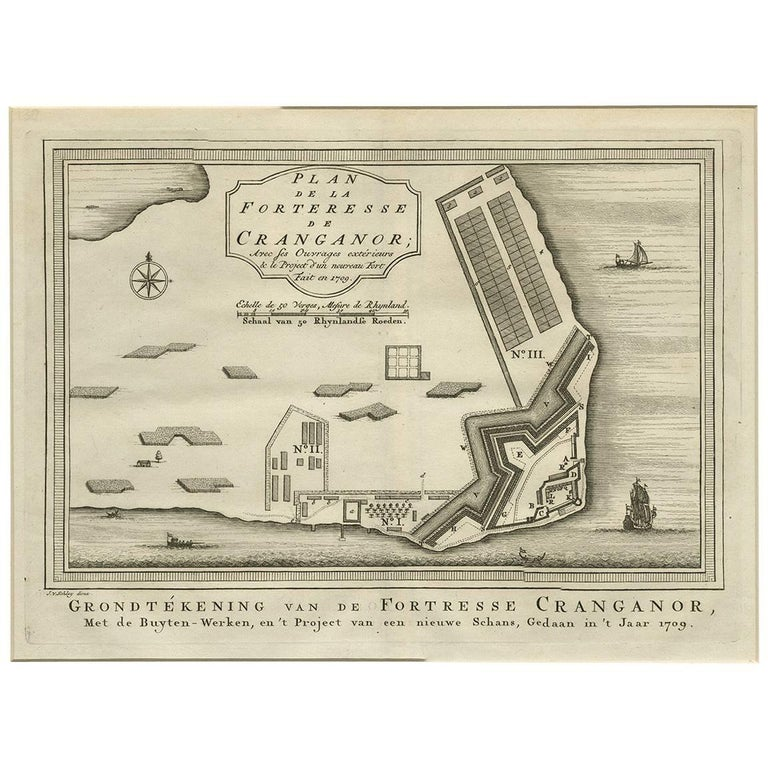Antique Print of the Fortress Cranganor 'India' by J. van Schley, 1757
