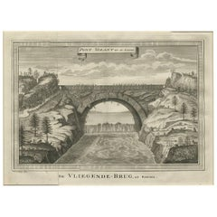 Antique Print of the Flying Bridge 'China' by J. Van Schley, 1747