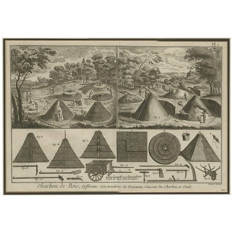 Antique Print Illustrating the Usage of Charcoal by R. Benard, 1779 For Sale