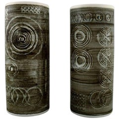 """Pair of Retro Vases """"Sarek"""", Stoneware, Olle Alberius, Rörstrand, 1960-1970s"""