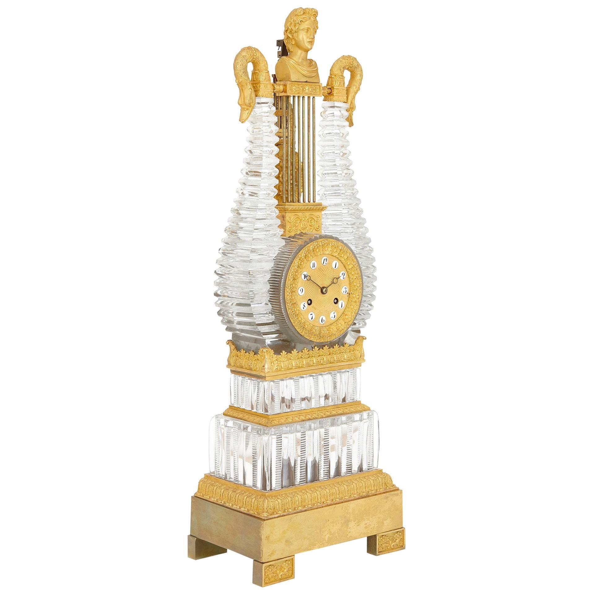French Restauration Period Gilt Bronze and Cut-Glass Mantel Clock