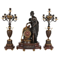 Lemerle-Charpentier & Compagnie Red Marble, Gilt and Patinated Bronze Clock Set