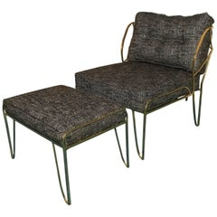 Gilded Bronze Lounge Chair and Ottoman