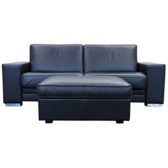 Designer Sleepsofa Set Leather Black Function Couch Topper Modern Footstool