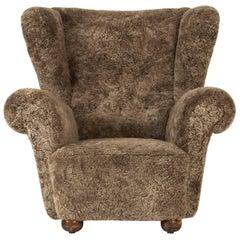 Swedish 1930s Sheepskin Lounge Chair