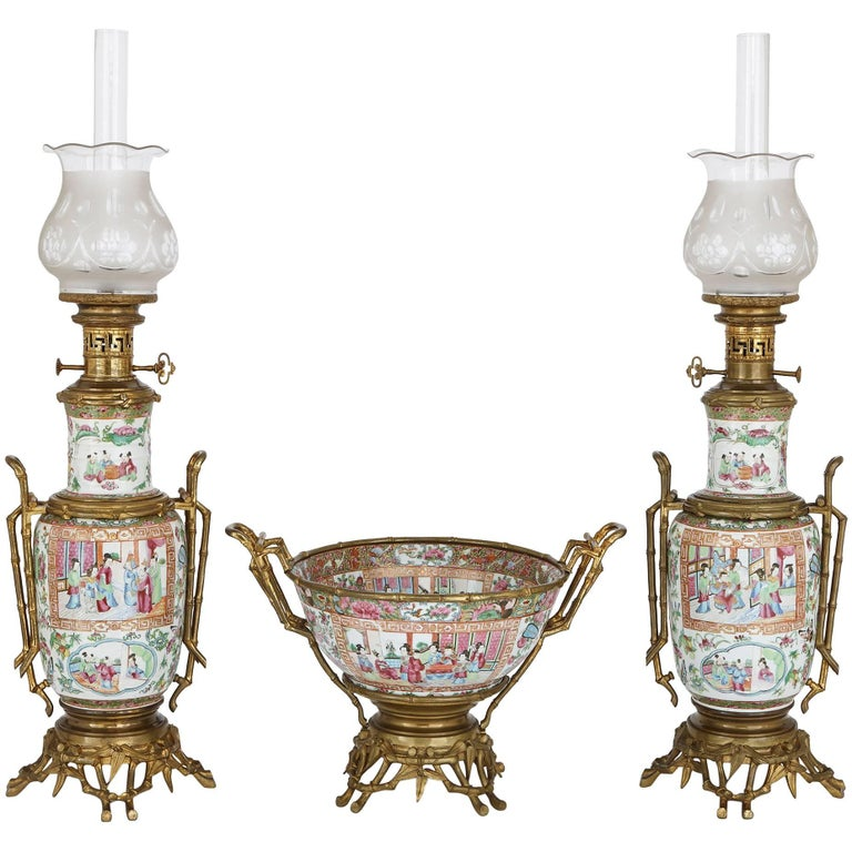 Chinese Canton Famille Rose Porcelain Garniture with French Ormolu Mounts