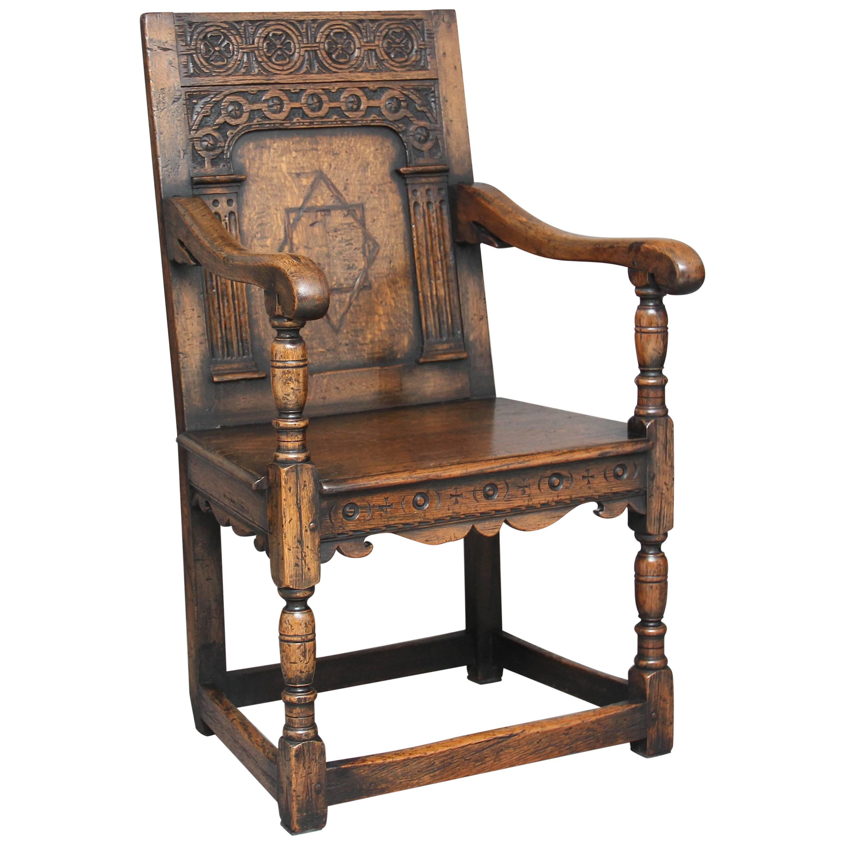 Early 20th Century Oak Wainscot Chair For Sale