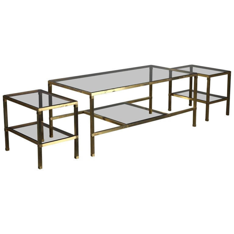1970s Set of Three Nesting Tables Attributed to Maison Jansen