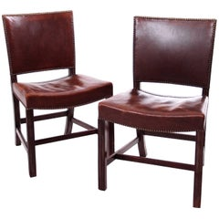 A Pair of Kaare Klint Red Chairs in Brown Leather by Rud Rasmussen, 1930s