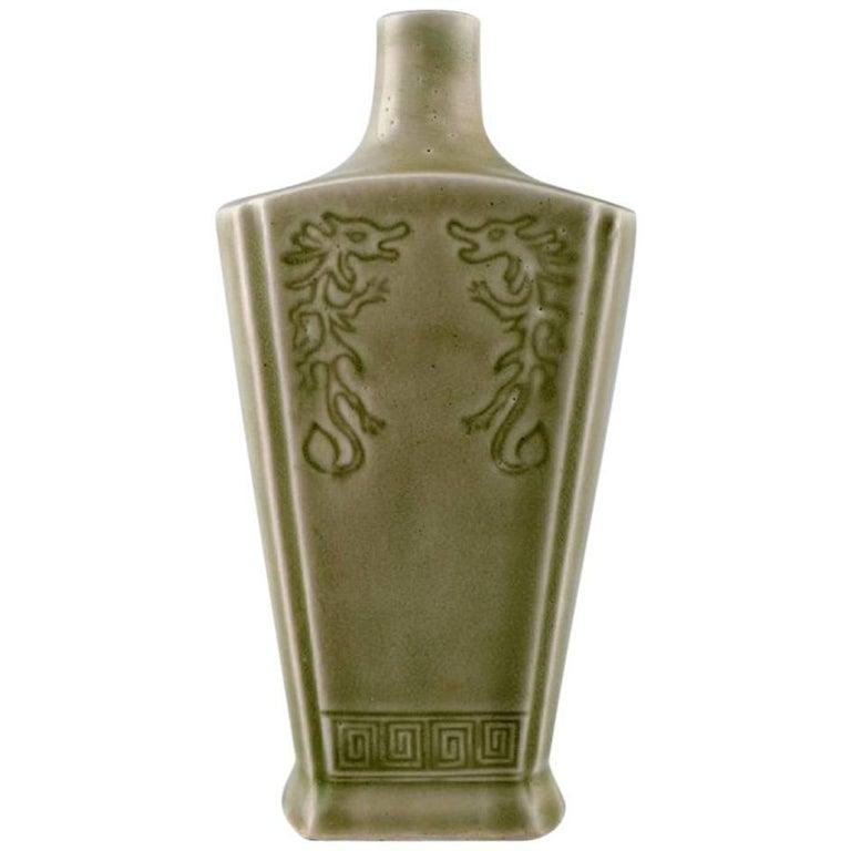 Chinese Ceramic Vase in Celadon Glaze with Dragon Motifs