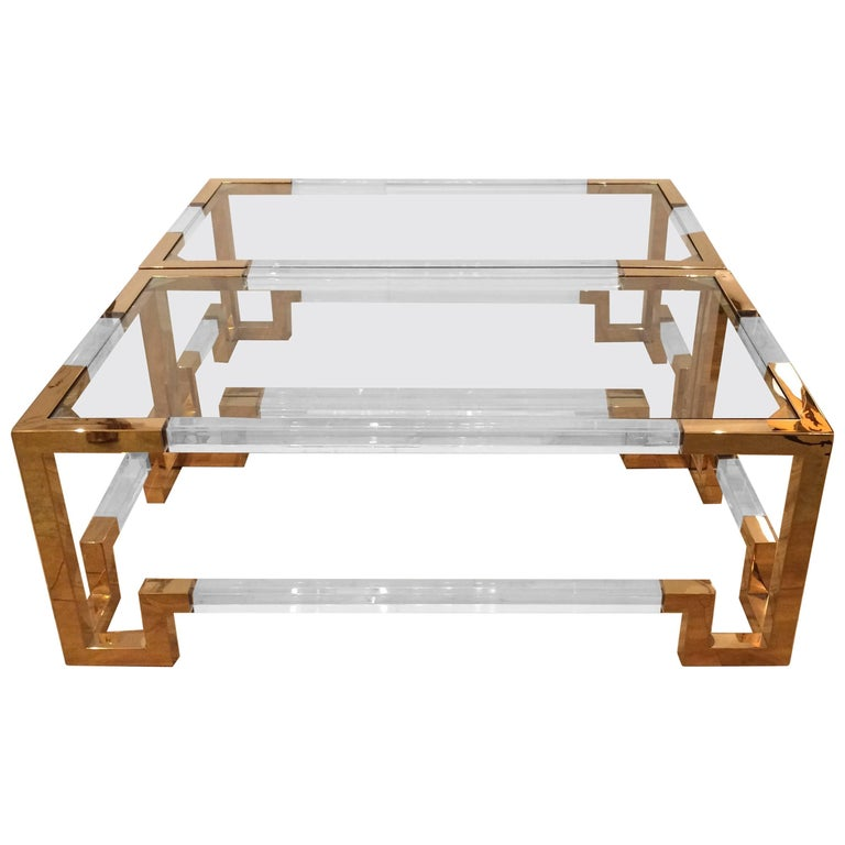 Glamorous Brass, Lucite and Glass Coffee Table