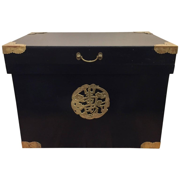Handsome Ebonized Asian Trunk End Table with Brass Corners