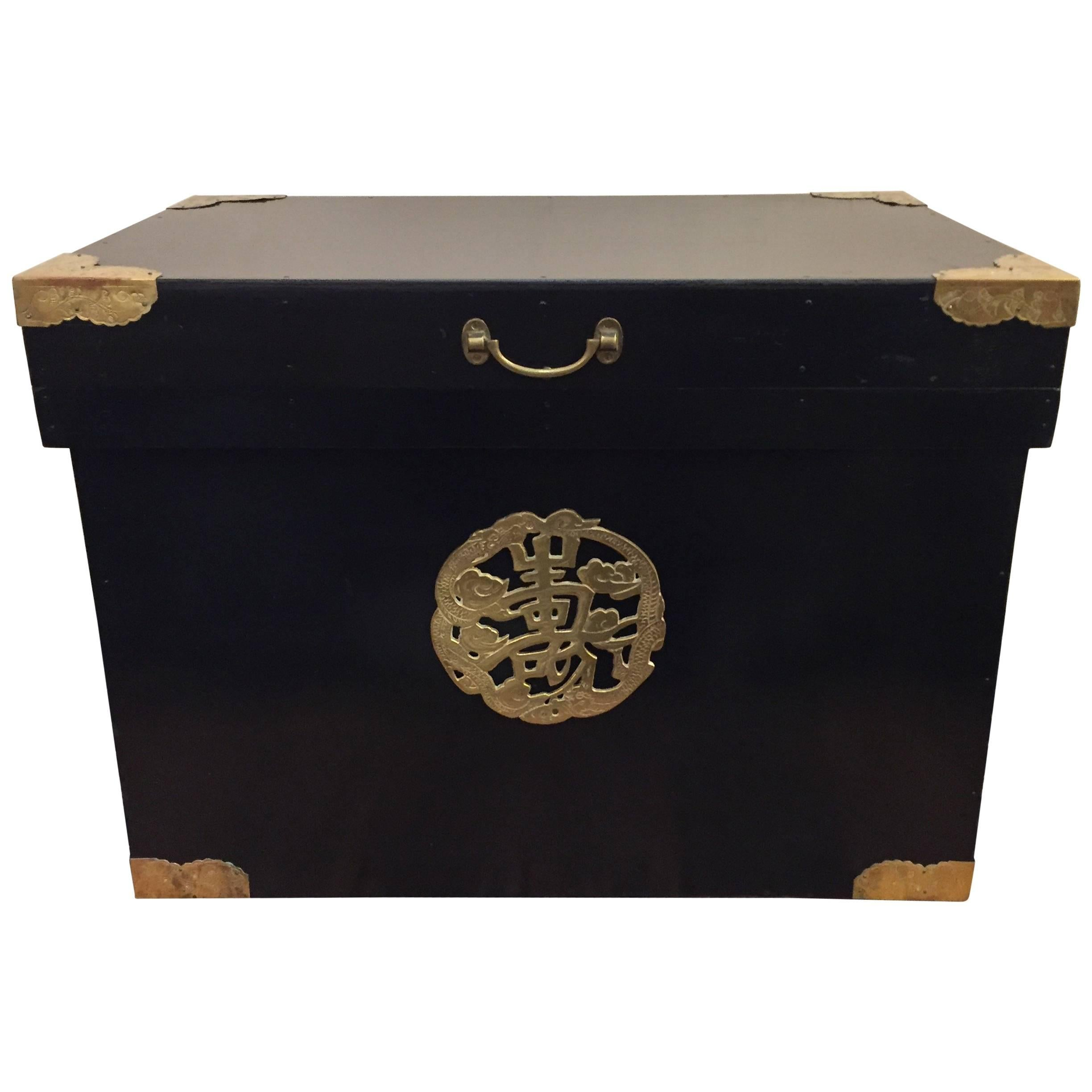Handsome Ebonized Asian Trunk End Table With Brass Corners For Sale