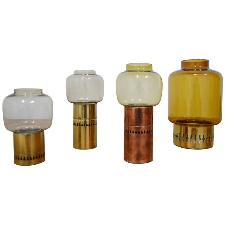 Set of Four Brass and Glass Candlesticks from Hans-Agne Jakobsson, Markaryd