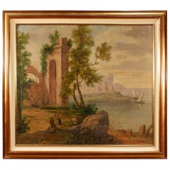 Italian Seascape with Ruins and Characters Painting Oil on Canvas, 20th Century