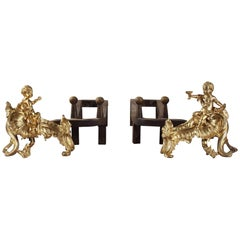 18th Century Pair of Louis XV Gilt Bronze Andirons