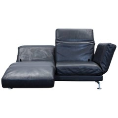 Brühl Moule Designer Leather Sofa Black Two-Seat Function Couch Modern