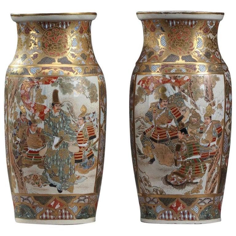 Late 19th Century Pair Of Japanese Satsuma Vases At 1stdibs