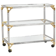 Drinks Trolley, Glass, Mirror, Lucite and Gilt, Italy