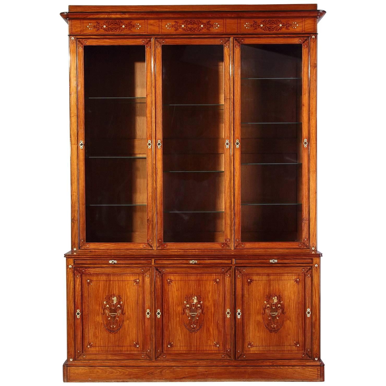 early 19th century charles x bookcase in rosewood veneer
