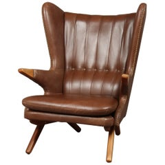 Svend Skipper Model 91 Wing Chair, Brown Leather, Seam Edge, Studded