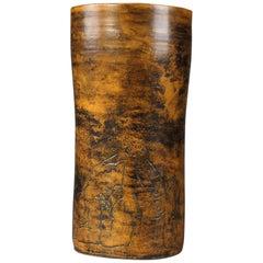 Jacques Blin Ochre Glazed Ceramic Vase with Erotic Decoration