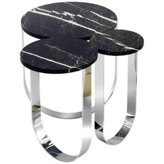Side Table Modern Marble Steel Black Italian Limited Edition Design