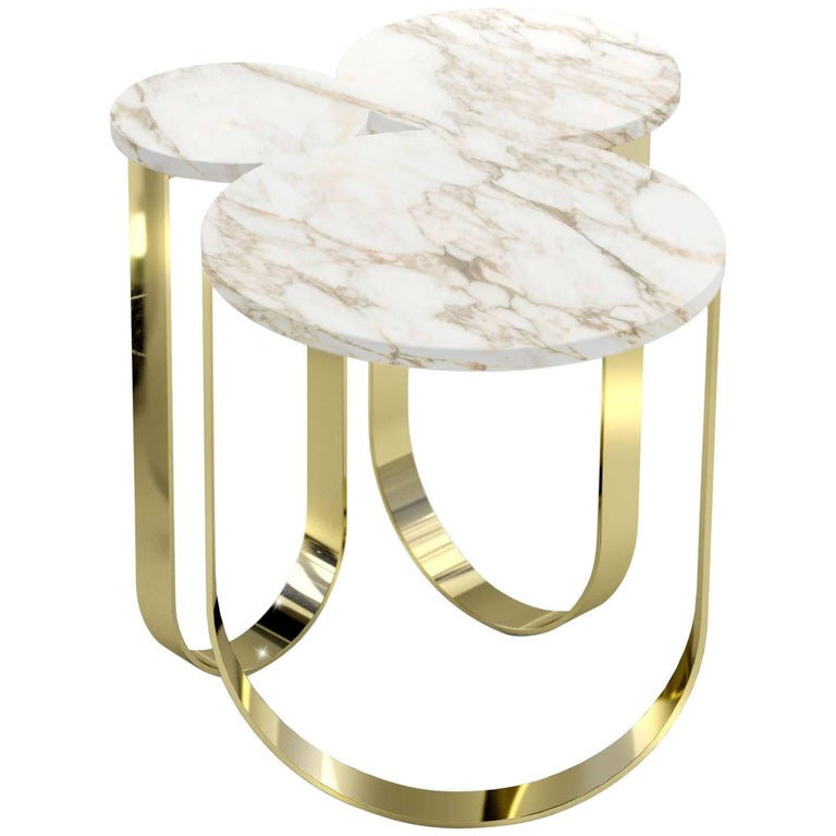 Tripolino M Low Table In Marble Fringes By Cristina