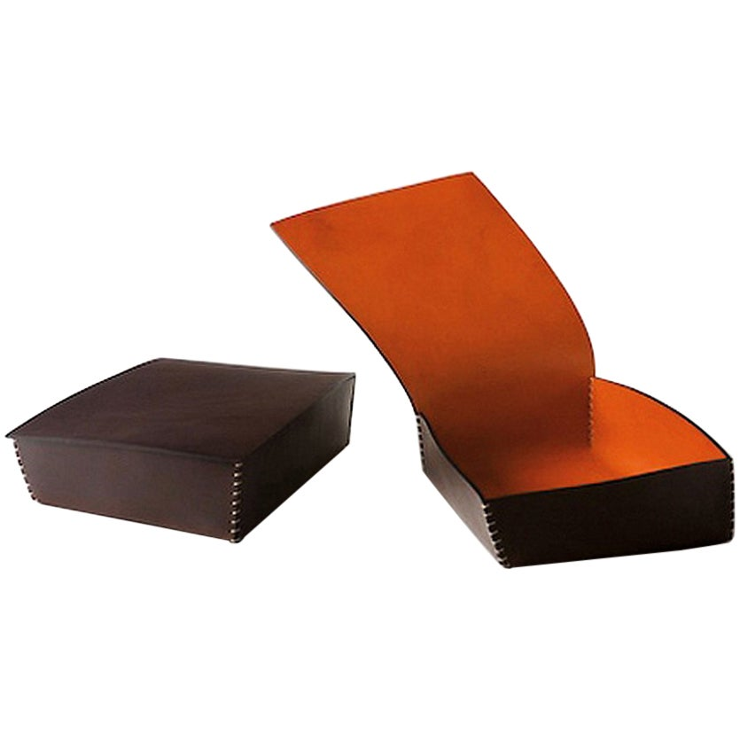 """Tom"" Leather Box Designed by Claude Bouchard for Oscar Maschera"